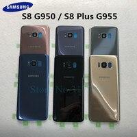 SAMSUNG Pil Kapağı Samsung Galaxy S8 G950 SM G950F G950FD S8 Artı S8 + G955 SM G955F G955FD Arka Arka cam Durumda Cep telefonu yuvası Cep telefonları ve Telekomünikasyon Ürünleri -