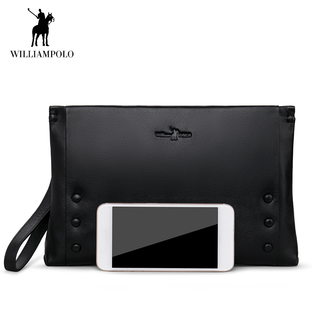 WilliamPOLO Men Wallets Long Clutch Anti Theft Envelope Phone Credit Card Holder Genuine Leather Multi Card with Zipper Pocket 1 williampolo genuine leather men wallet handbag coin pocket phone wallets card holder leather long clutch zipper black brown 80