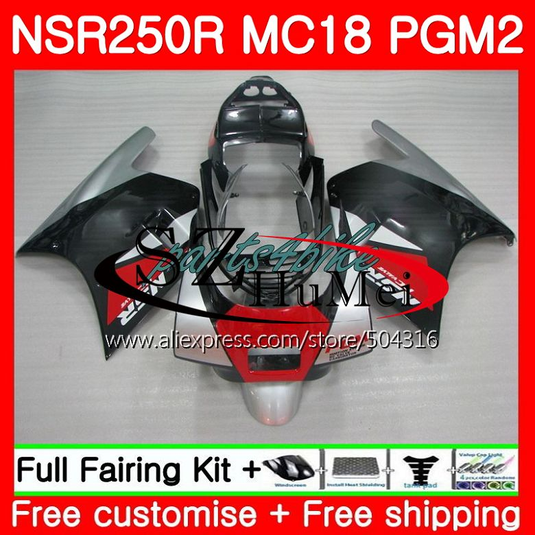 MC18 For HONDA PGM2 NSR250 <font><b>NSR</b></font> <font><b>250</b></font> R NSR250R 88 89 124SH.7 MC16 <font><b>NSR</b></font> 250R NS250 RR Black silver NSR250RR 1988 1989 88 89 Fairing image