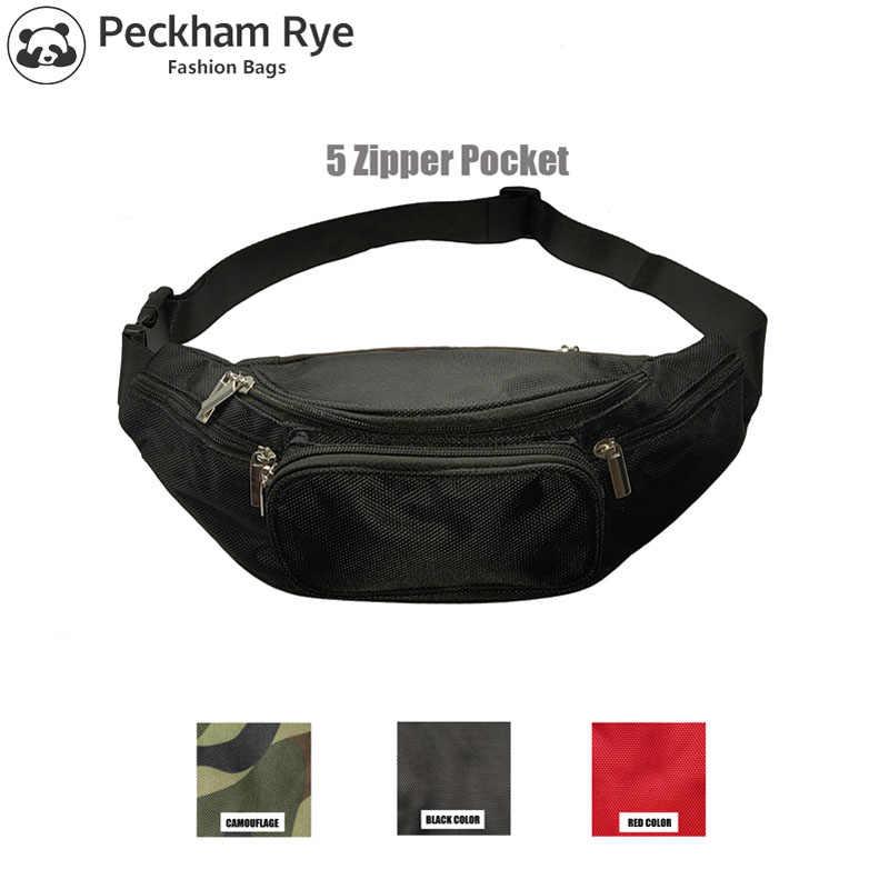 1e6fcfcb3321 5 Zipper Pockets Black Fanny Packs Belt Bag Men Waist Bag Travel ...