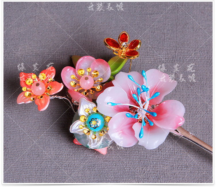 Colored Flower LingLong Jade Plum Blossom Bride Wedding Hair Stick Photography Hair Accessory 03 red gold bride wedding hair tiaras ancient chinese empress hat bride hair piece