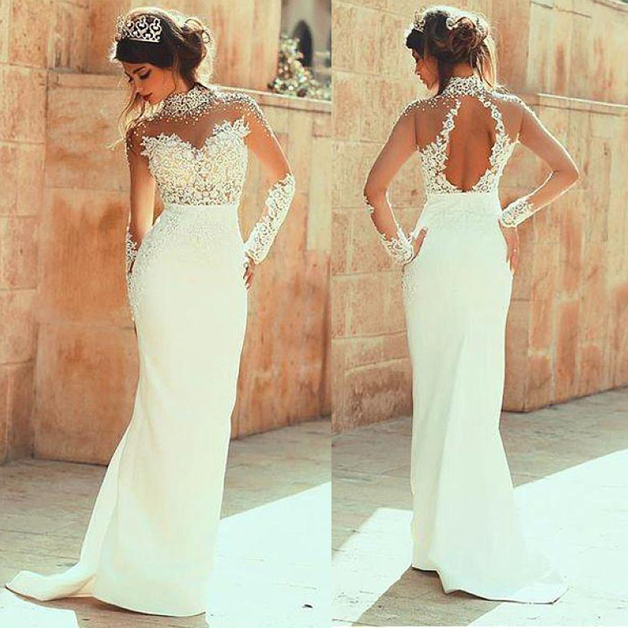 Glamorous Illusion High Neckline See-through Sheath Wedding Dresses With Pearls Beaded Lace Appliques Long Sleeves Bridal Dress
