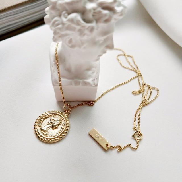 925 sterling silver pendenti collana semplice selvaggio di colore oro delle donn