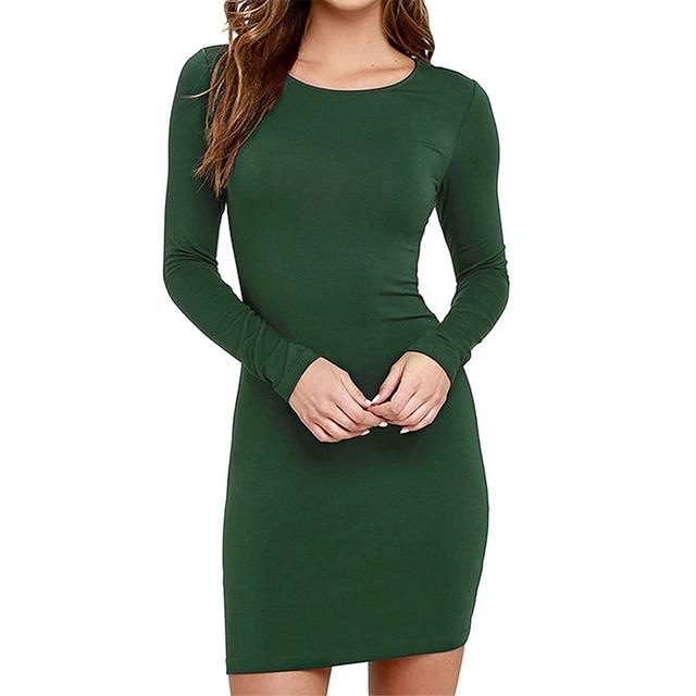 Amoin Cute Women Fashion Little Black Dress New 2017 Autumn Winter Sexy Casual Vestidos Long Sleeve Bodycon Short Office Dress