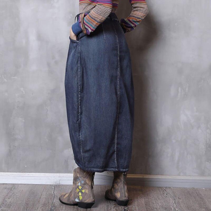 A0120 Del Bolsillos Falda Larga Irregular Vintage Otoño Faldas Botones Denim Mujeres Niñas Jeans Azul 2018 Moda w6q1TT