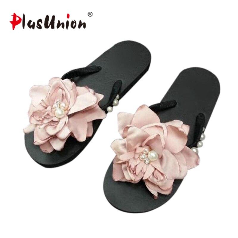 High Quality Hand Sewn Pearls Beach Flat Sandals Women Flip Flip Flip - Kasut wanita