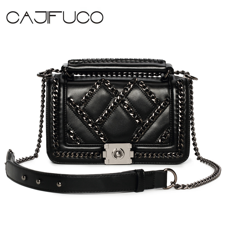 CAJIFUCO Rock Chic Style Women Purse Soft PU Leather Flap Chain Bag MINI CrossBody Bags Chain Handbag Bolsos Mujer Sac A Main