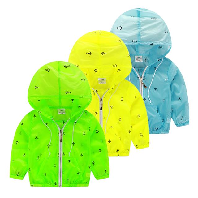 Crianças Zip-up Barco Âncora Impressão Hoodies 2017 Meninos hoodies meninas de Proteção Solar criança roupas de verão da menina do menino casaco