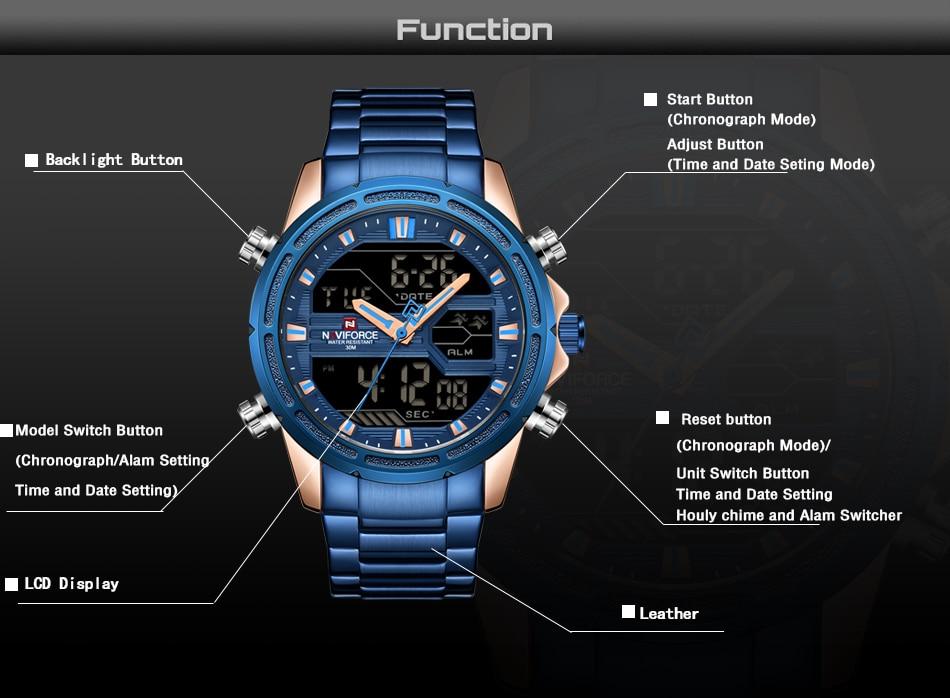 Top Luxury Brand NAVIFORCE Men Watches Military Waterproof LED Digital Sport Men's Clock Male Wrist Watch relogio masculino 4