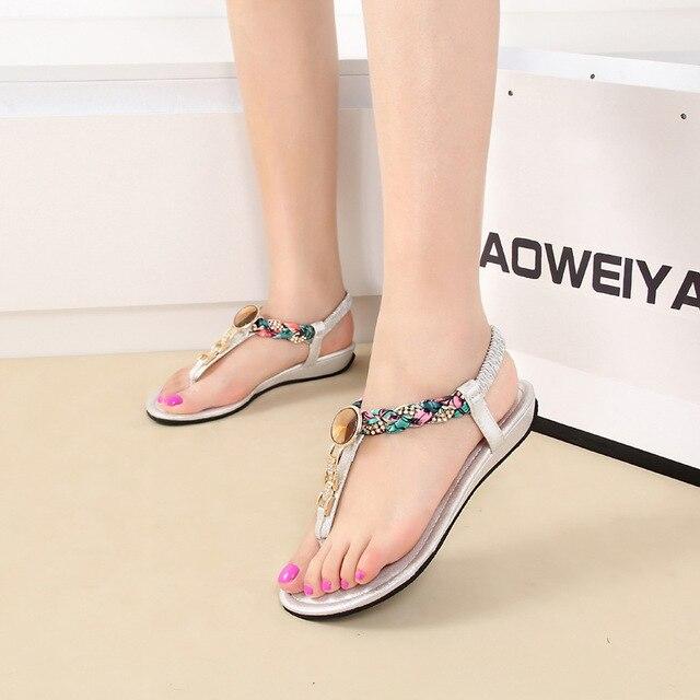 549fea387002a 2015 New Fashion Bohemia Rhinestone Women Sandals Comfort Pregnant Mama  Driving Flat Shoes Summer Casual Flip Flops US Size 4-11
