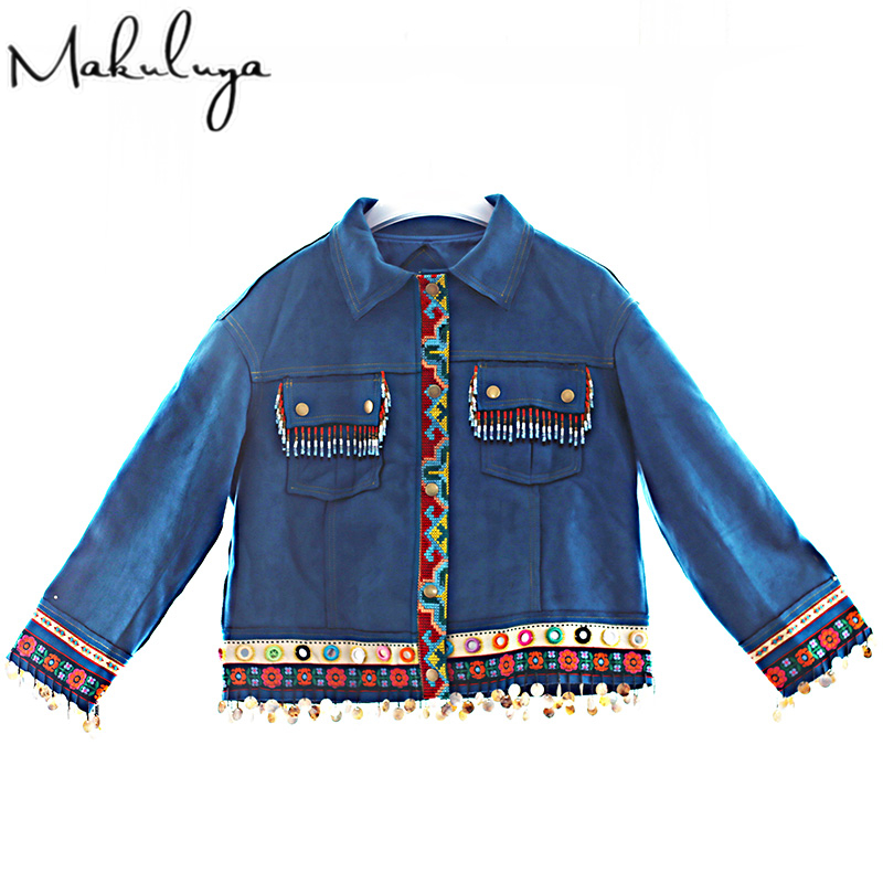 Makuluya Women Vintage Embroidery Coats Winter Autumn Original Folk Style Handmade Lace Suede Female Short Jackets QW