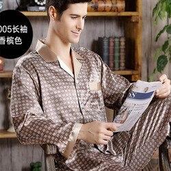 Весенняя Мужская шелковая пижама, пижамный комплект, Мужская пижама, современный стиль, шелковая ночная рубашка, Домашняя мужская атласная ...