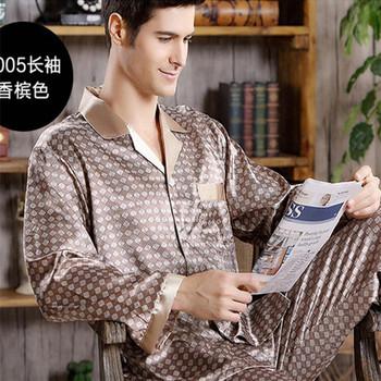 Wiosenna męska plama jedwabna piżama zestaw piżama męska bielizna nocna w nowoczesnym stylu jedwabna koszula nocna strona główna męska satynowa miękka przytulna do spania tanie i dobre opinie Piżamy Poliester COTTON Plaid Pełna REGULAR Przycisk 5001 Skręcić w dół kołnierz Mężczyźni Elastyczny pas Silk Pajamas set Nightgown