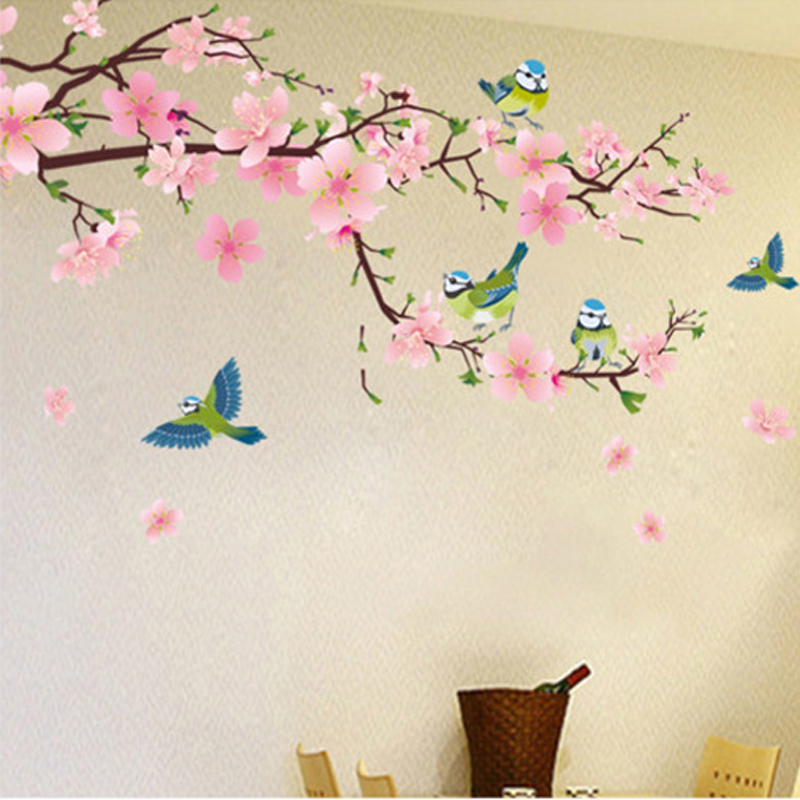 Romantic Peach Blossom And Swallow Pvc Removable Room Decal Art