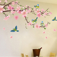 New Pink Peach Flower Birds Home Living Room Decorative Wall Sticker Mural Decals Decor Art Wedding