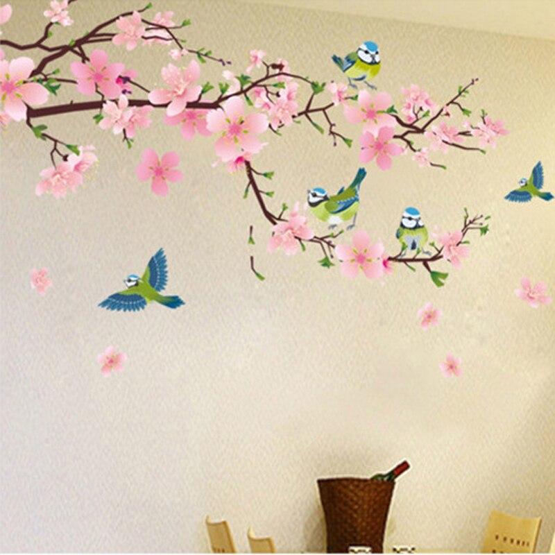 Romantique fleur de Pêcher et Avaler PVC Amovible Chambre Sticker Art DIY Wall Sticker Home Decor vente chaude populaire autocollants