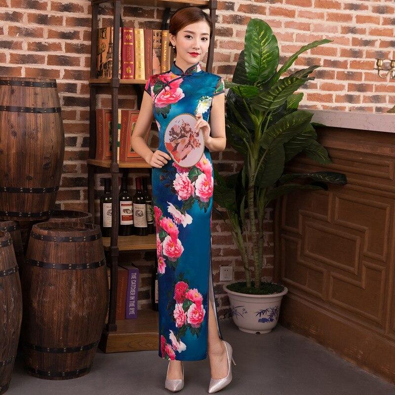 2019 Fashion Long Cheongsam Chinese style Mandarin Collar Dress Womens Summer Rayon Qipao Slim Party Dresses