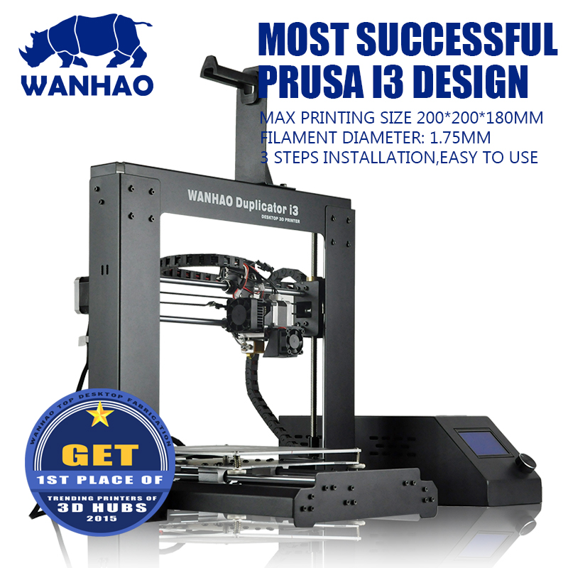 Cheap price Wanhao i3 V2.1 printing machine, semi-automatic metal frame reprap kit with more accurate model effect,free shipping