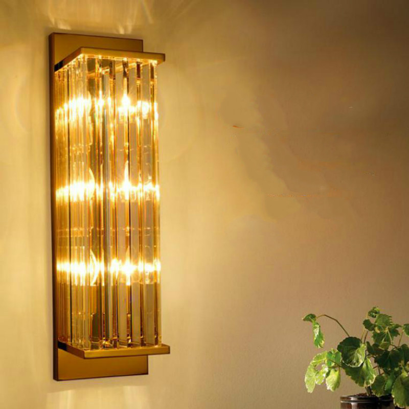 Villa Hotel Modern Long Crystal Wall Sconce E14 Led Metal Wall Lamp gold Wall Fixture Bar Living room Study indoor vertical lamp|LED Indoor Wall Lamps| |  - title=