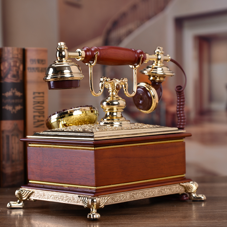 Chord tone of the European classical electric antique craft telephone set of natural jade Retro art classical Rotary Dial in Figurines Miniatures from Home Garden