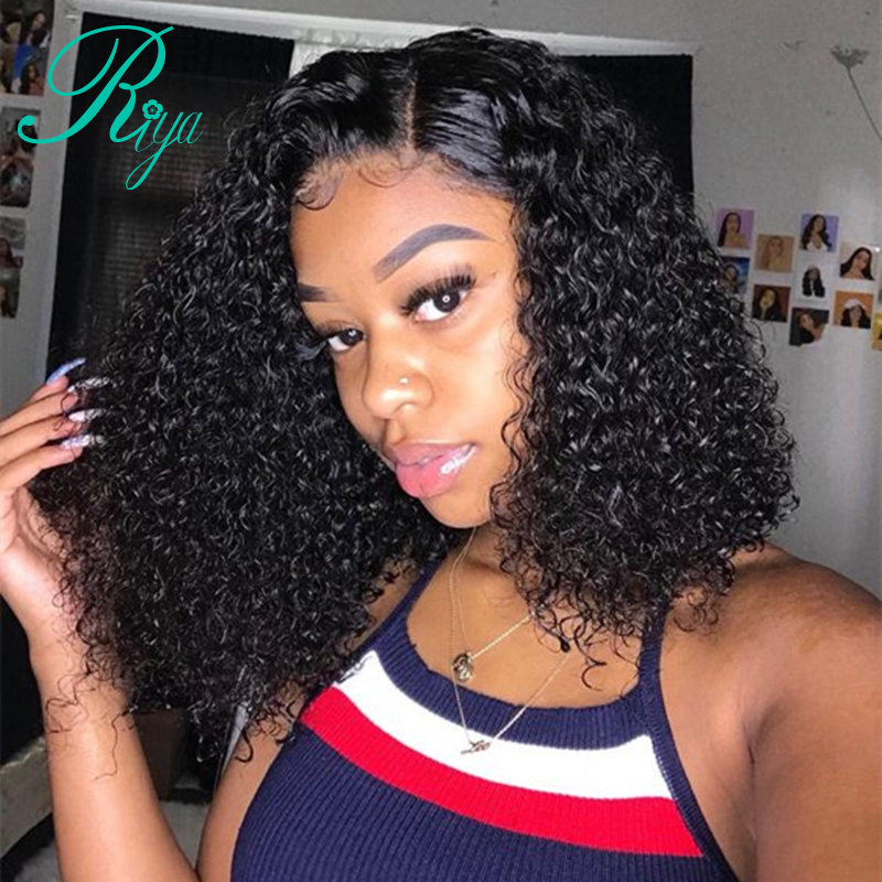 Riya Short Curly Lace Front Human Hair Wigs Pre Plucked With Baby Hair Brazilian Remy Hair Bob Lace Front Wigs For Black Women(China)