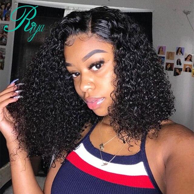 Riya corto de encaje rizado frente pelucas de cabello humano Pre desplumado con pelo de bebé brasileño Remy pelo Bob pelucas delanteras de encaje para las mujeres negras