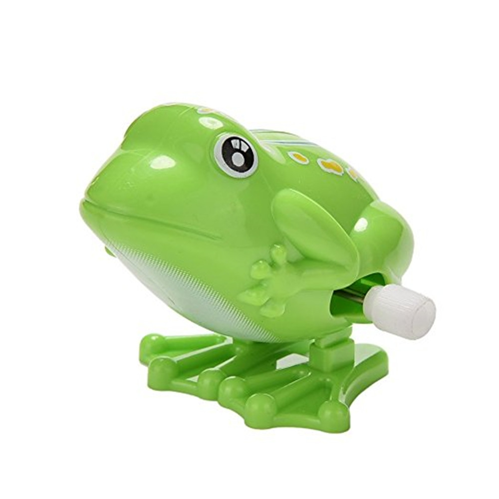Children Lovely Cute Green Color Jumping Frog Clockwork Toy for Kids Plastic Classic Wind Up Toy for Above 3 Years Old Kids