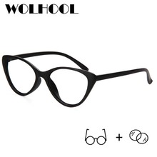 Women Man Retro Cat Eye Progressive Lens Eyeglasses Light Pl