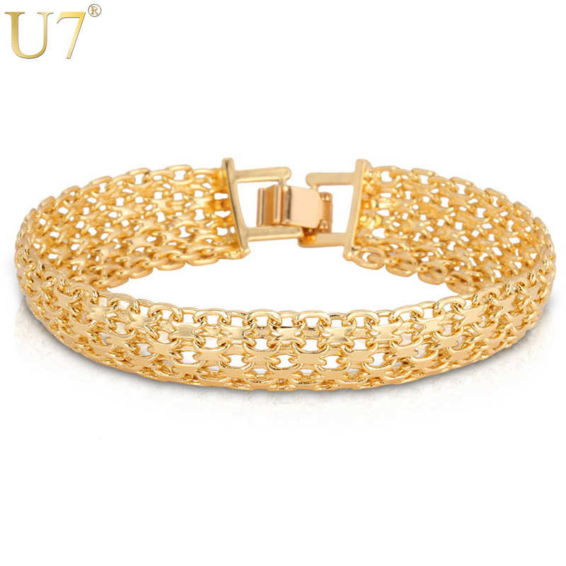 U7 Brand Gold Color Bracelet Chunky Big Hand Chain Fashion Men Jewelry Wholesale Hollow Bracelets & Bangles Homme H537