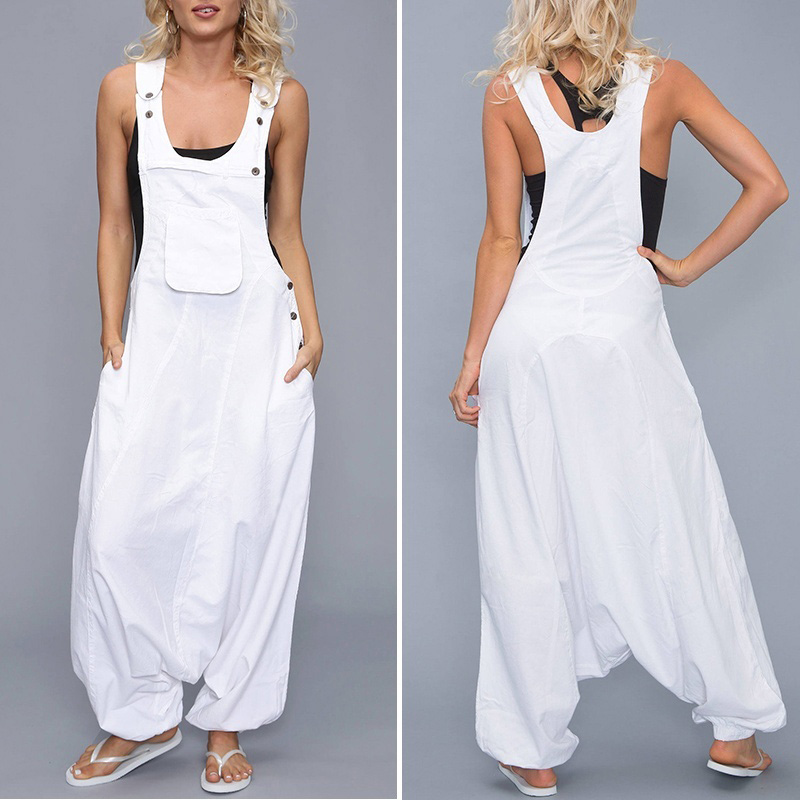 Womens Loose Baggy Strappy Romper   Jumpsuit   Summer Overalls Playsuit Harem Pants