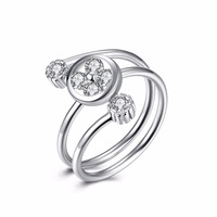 Simple Wedding Design Nice Zircon Setting Three Circle For Party Or Gifts 925 Silver Ring