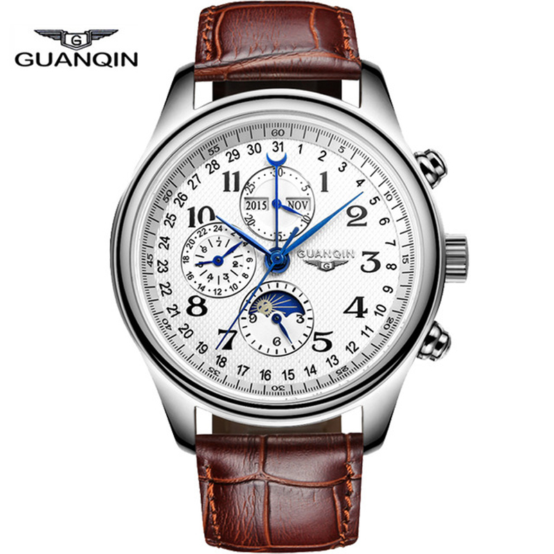 New Arrival Men font b Watches b font Top Brand Luxury GUANQIN Automatic Mechanical Waterproof Calendar