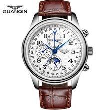 Nueva Llegada de Los Hombres Relojes de Primeras Marcas de Lujo GUANQIN Mecánico Automático Calendario Resistente Al Agua Relogio masculino 2016 Reloj de Cuero