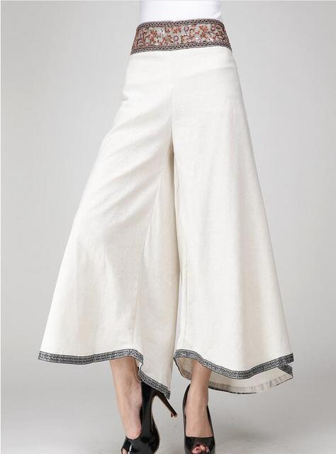 Pantalon 2016 Femmes Large Jambe Été Coton Jupe Lin Bohême Broderie 46wq0rx4