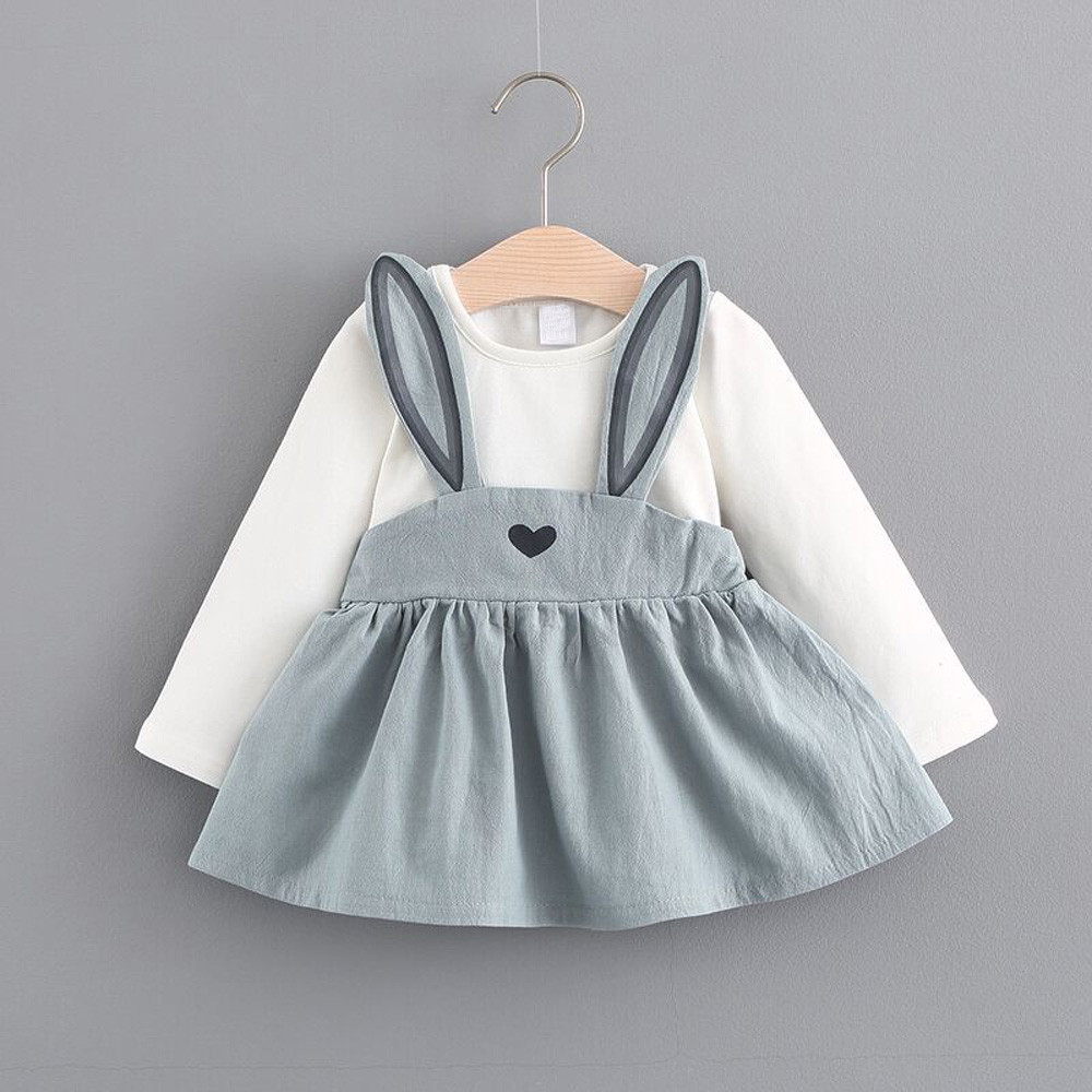 2018 New Style Baby Dress Long Sleeve Girl Dress Children Clothing Cotton Infant Kids Clothes Cute Rabbit princess dress ### alilo g6 cute rabbit style children s english song