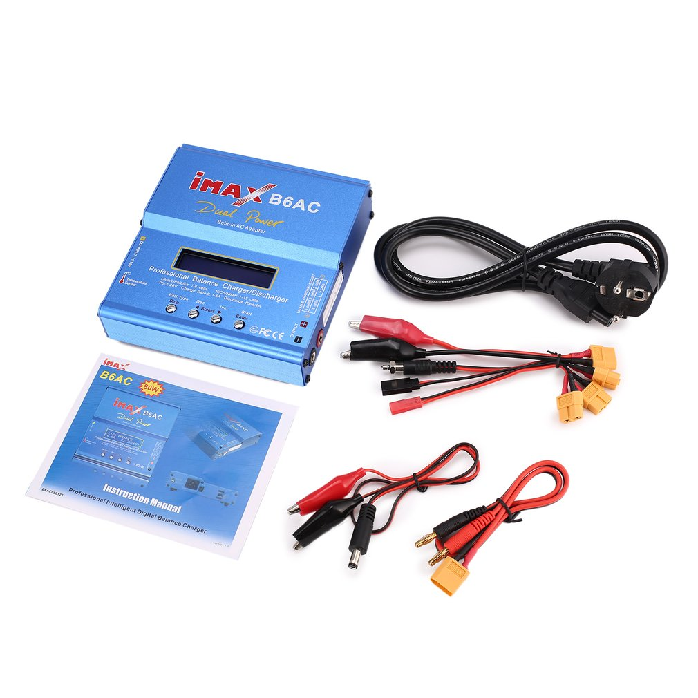 iMAX B6 AC B6AC 80W 6A Dual Lipo NiMh Li-ion Ni-Cd AC/DC RC Battery Balance Charger 10W Discharger for RC Car Helicopter Battery