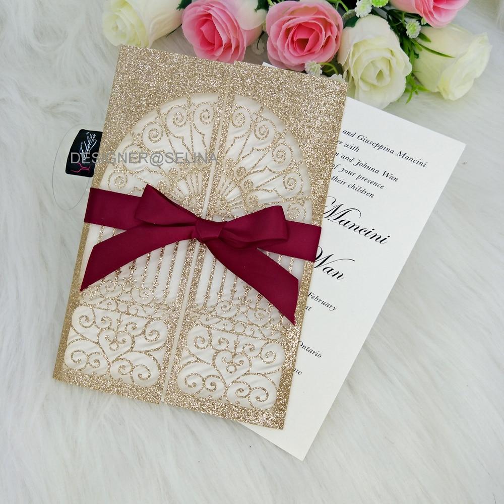 50pcs Romantic Laser Cut Castle Invitation Card Glitter Paper Wedding Cards  Bridal Shower Engagement Invitations Cover|Cards & Invitations| - AliExpress