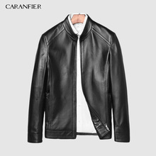CARANFIER Mens Jackets Genuine Sheepskin Leather Casual Slim Fit Coats Motorcycles Black Outerwear Overcoats 2019 New Brand Coat