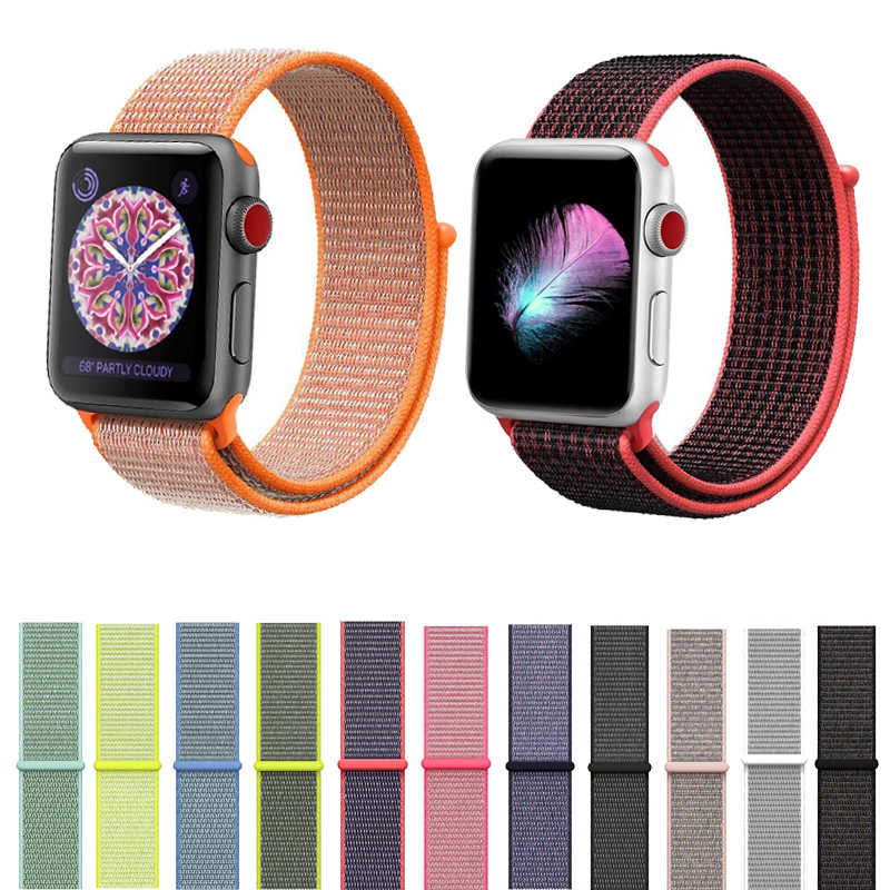 Joyozy nylon Sport Loop band for Apple watch strap Series4 3 2 1 lightweight soft Breathable strap For 38MM 42MM 40MM 44MM
