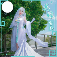 VOCALOID V Vsinger Yan He Cosplay Costume White Wedding Dress Embroidered Sweet Princess Free Shipping