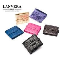2017 new Korean version of sheepskin woven wallet short paragraph leather wallet