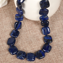 Natural stone bead square 18 inch finished lapis lazuli jewelry necklace blue stone jewelry Christmas gift