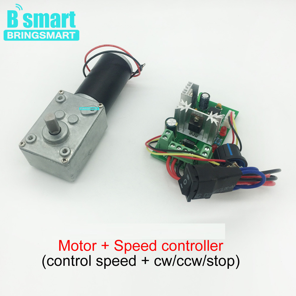 Bringsmart Worm Gear Motor DC 12V 24V Reversed 10-470rpm High Torque Mini  Motor Self-Lock For Curtain Machine,Billboard,DIY