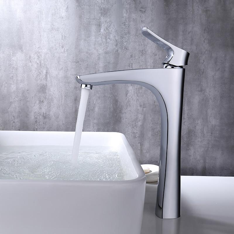 Micoe Bassin Robinet bassin de salle de bain Robinet Pont Monté Cascade Chrome Robinet D'eau Froide Chaude Robinet Contemporain Chrome Robinet H-HC216