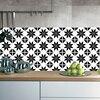 Mediterranean Style Retro Black White Tile Look Stickers 20pcs  5