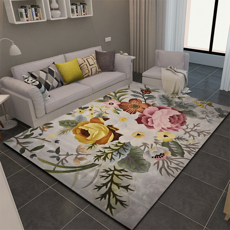 ALITEXTILEBTOC Jacquard Carpet Plus Size 100% Wool Hand Carved Floral Tapis Salon For Home Rectangle Non-slip Parlor Soft