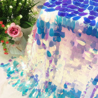 Mermaid Iridescent Water Drop Sequin Party Tablecloth Fabric Party Backdrops For Bridal Shower Unicorn Christmas Party Decor
