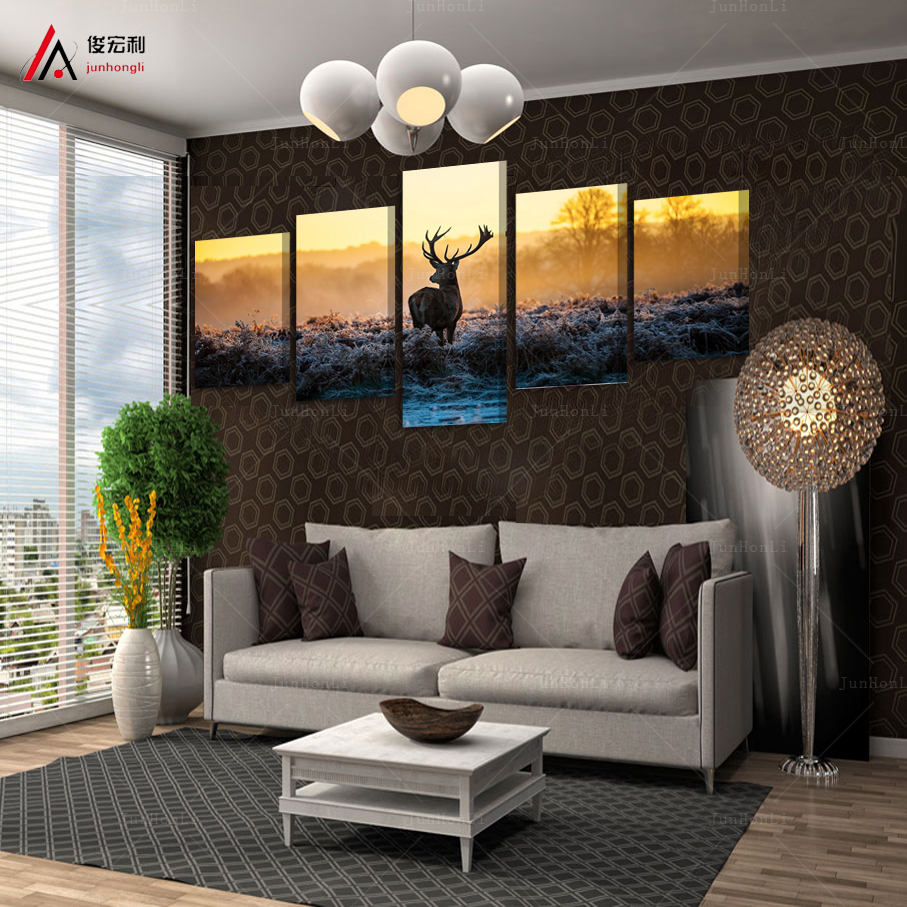 Buy 5 Piece Canvas Art African Sunset Deer Painting Group Children 39 S Room Decor
