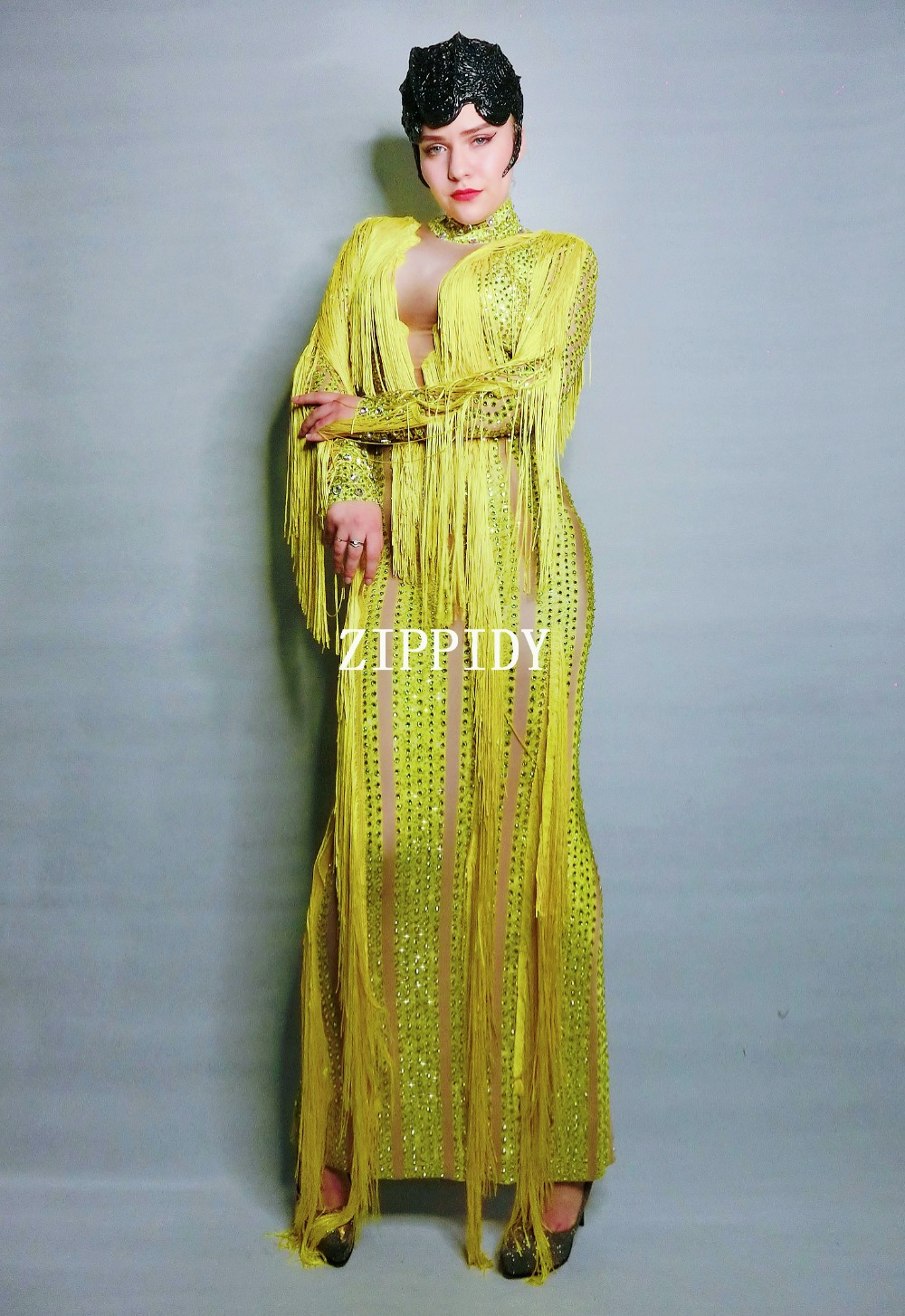 Shining Yellow Fringes Rhinestones Dress Lady Evening Party Sexy Long Dress Prom Birthday Celebrate Stretch Tassel Dresses