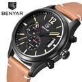 2017 Original Brand BENYAR Men Sport Watches Auto Quartz Clock For Men Fashion Casual Leather Band Waterproof Wristwatch